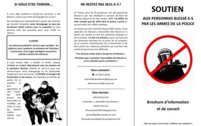Une brochure à distribuer aux personnes blessé-es et leurs proches