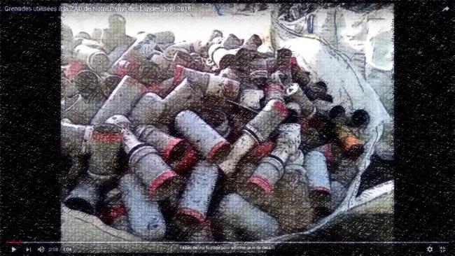 Grenades utilisées à la ZAD de Notre Dame des Landes, avril 2018